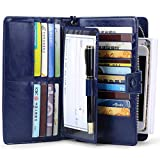 JEEBURYEE Women's RFID Blocking Large Capacity Genuine Leather Clutch Multi Card Organizer Wallet with Removable Checkbook Holder and Wrist Strap Blue
