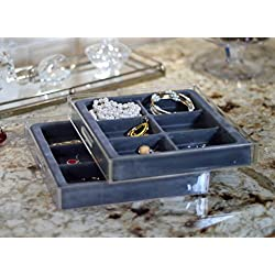 Stack Em' Jewelry Organizer Box - 2 Pack - 6 compartment Bracelet and Hoop Earring Drawer Jewelry Tray - Axis 3302