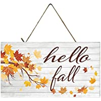 Hello Fall Autumn Decor Wood Sign