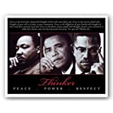 "Amazon Price History for:Thinker: Peace, Power, Respect (ML King, Obama, Malcom X) 7.5""x9.5"" Art Print Poster"