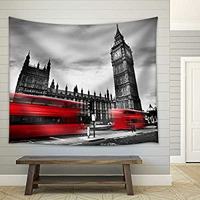 Quality Artwork, Majestic Style, The UK Red Buses in Motion and Big Ben Fabric Wall