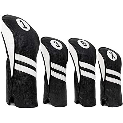 ProActive Sports Vintage Golf Club Head Covers for Driver, Fairway Woods, and Hybrid (1,3,5,X) | Headcovers Fit Up to 460cc | Classic Black and White Leather Look from ProActive Sports