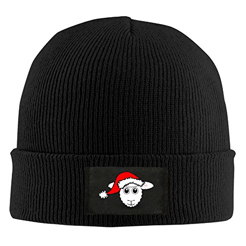 Uozhusan Christmas Sheep Chunky Cable Knit Beanie, Winter Knitting Warm Hat Beanie Skull Cap For Women&Men Black (Mean Girls Christmas Dance Costume)