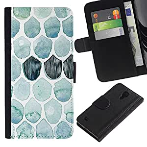 iKiki Tech / Cartera Funda Carcasa - Pattern Watercolor Teal Fish - Samsung Galaxy S4 I9500