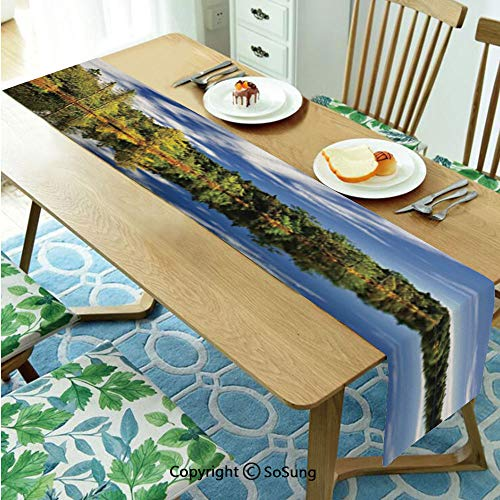 Lake House Decor Table runner for Farmhouse Dining Coffee Table Decorative,Elegant Forest Reflecting on Calm Lake Shore at North Canada Universe Art Print 16