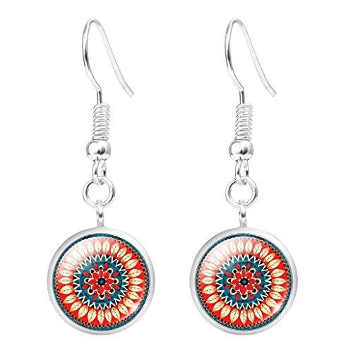 Womens Summer Style Hawaii Flower Pattern Glass Dangle Earrings Fashion Jewelry