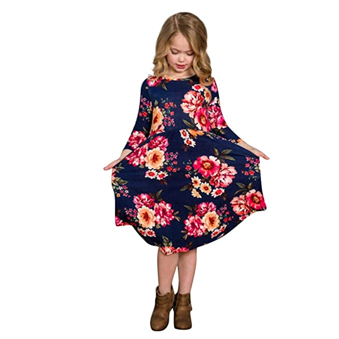 30af4df139a7 Amazon.com  TANGON Mommy and Me Clothes Floral Print Dresses Crew ...