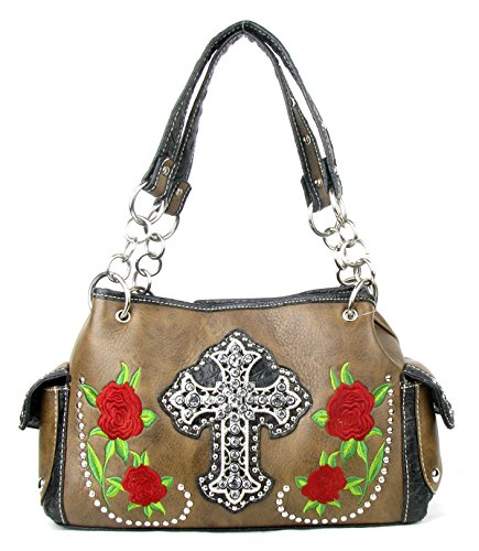 Shoulder with Colors Rose Brown Matching Wallet Handbag in Set Cross Flower Embroidery Purse Rhinestone Multi FTwqBIT