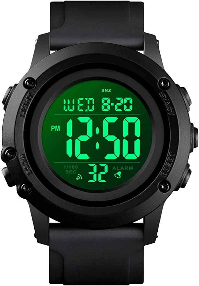 Mens Digital Sports Watch Large Face Waterproof Wrist Watches for Men with Stopwatch Alarm LED Back Light