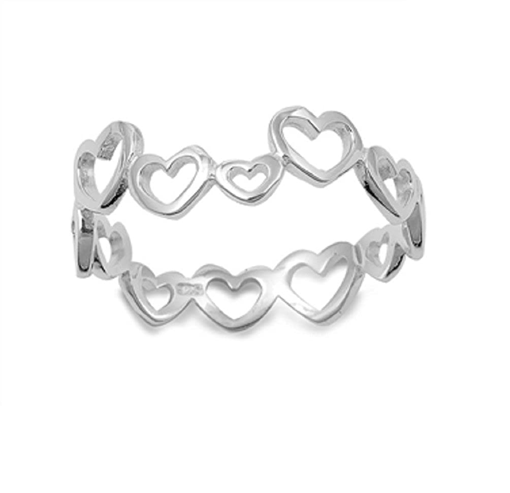 Princess Kylie 925 Sterling Silver Eternity Open Heart Ring