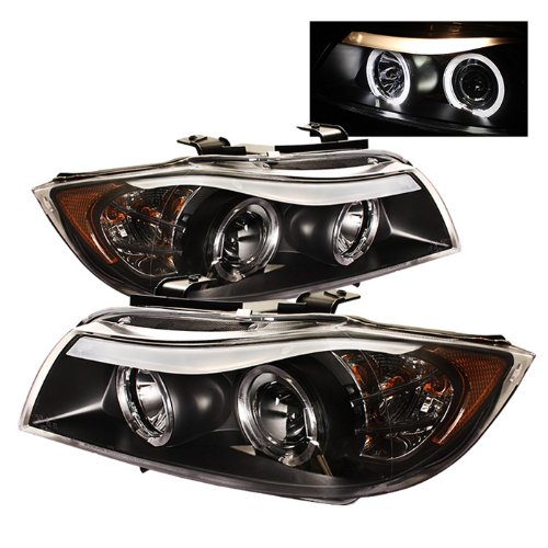 BMW E90 3Series 4DR Projector Headlights LED Halo Amber Reflector Replaceable Eyebrow Bulb Black Housing With Clear Lens