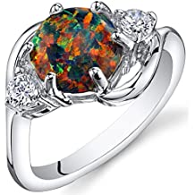 Created Black Opal Ring Sterling Silver 3 Stone 1.75 Carats Sizes 5 to 9
