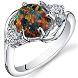 Created Black Opal Ring Sterling Silver 3 Stone 1.75 Carats Size 7