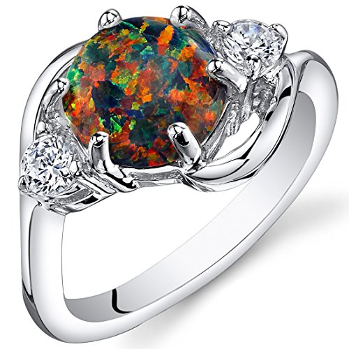 Peora Created Black Opal Ring Sterling Silver 3 Stone 1.75 Carats Size