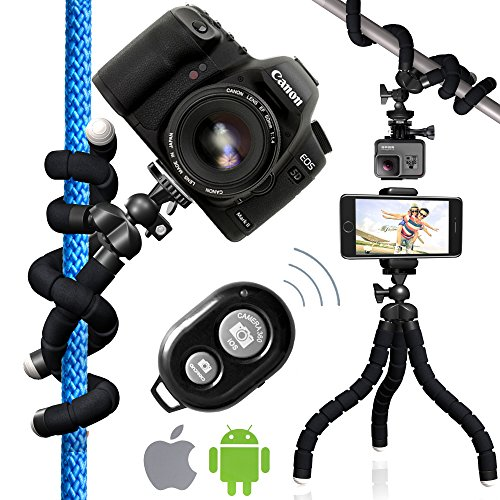 Nialik Flexible Tripod For Your Camera, Phone, Flashlight or GoPro, Lightweight and Compact Professional Stand In Your Pocket. Can Hold Up To 10 Lbs (4 Hero Go Fence Mount Pro)