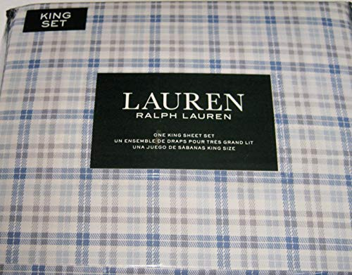 Lauren King Size Plaid Sheet Set Blue, Gray and White Cotton