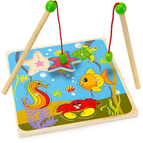 (Imagination Generation Wooden Wonders Lift & Look Magnetic Fishing Game with 2 Poles (5 pcs))