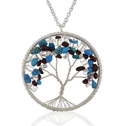 Silver-Plated Brass Eternal Tree of Life Turquoise, Amyethst and Garnet Gemstone Necklace, 30 inches