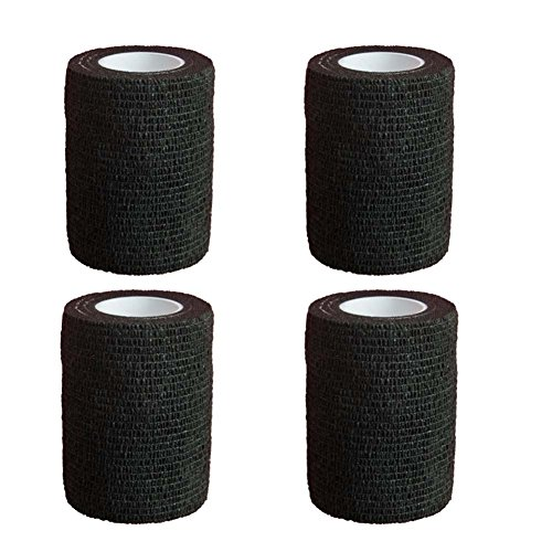 GouGou 4 Rolls Self-Adhesive Bandage First Aid Tape Non-woven Ventilate Flexible Strong Elastic Wrap for Ankle Waist Knee Elbow Athletic Sports Pets Medical Support 3 Inch X 5 Yds (Black) by GouGou