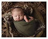 Forest Green Newborn Photography Wrap for Baby Photos on Bean Bags or Props