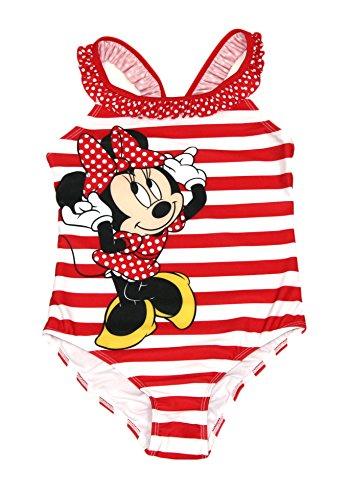 Minnie Mouse Disney Girls One Piece Bathing Suit Swim Wear (Red Stripe, 7/8) (Disney Swimsuit Piece One)