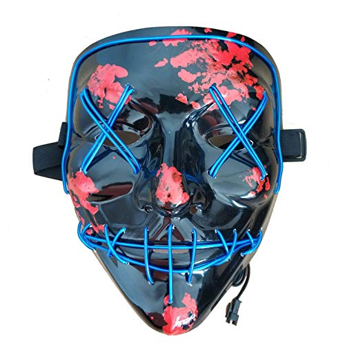 The Purge Halloween (Himine Halloween Mask Cosplay LED Light up Purge Mask for Festival Party)