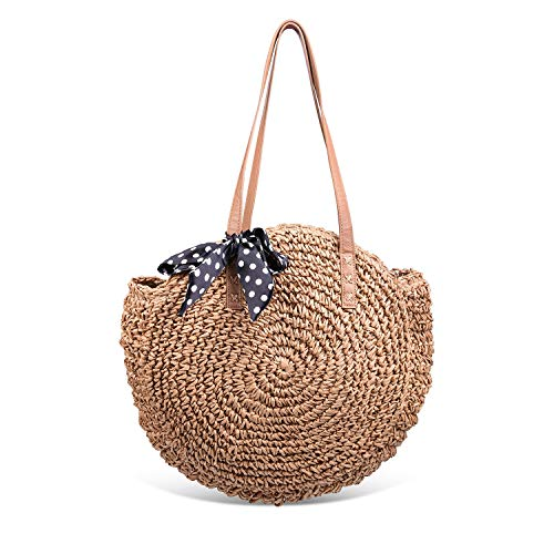 Round Summer Straw Large Woven Shoulder Bag Sholov Wallet Ladies Professional ()