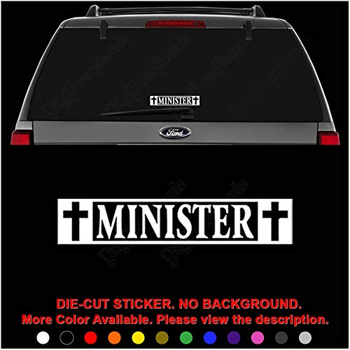 Minister Christian Die Cut Vinyl Decal Sticker for Car Truck Motorcycle Vehicle Window Bumper Wall Decor Laptop Helmet Size- [6 inch] / [15 cm] Wide || Color- Gloss Black
