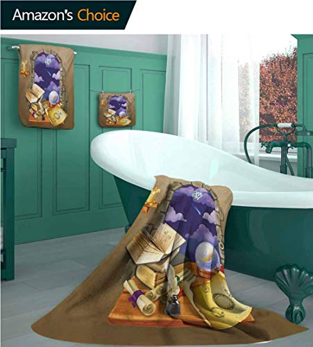 Astrology-Cotton-Towels-Set-Medieval-Ancient-Castle-Window-with-Crystal-Ball-Clouds-Parchment-1-Bath-Towels-1-Hand-Towels-and-1-Washcloths-Soft-Highly-Absorbent-Teal-Grey-White-and-Purple