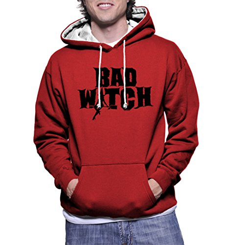 HAASE UNLIMITED Men's Bad Witch Two Tone Hoodie Sweatshirt (Red/White Strings, Small)]()