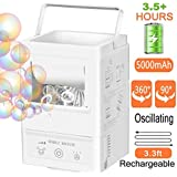 Bubble Machine Automatic Bubble Blower, Portable Bubble Maker Rechargable Outdoor for Kids, Indoor Bubble Toys 3000+ Bubbles per Minute with 3 Bubbles Blowing Speed, High Output for Parties Birthdays