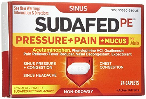 Sudafed Pe PRESSURE+PAIN+MUCUS Non-Drowsy Caplets-24 count by Sudafed (Non Sudafed Drowsy)