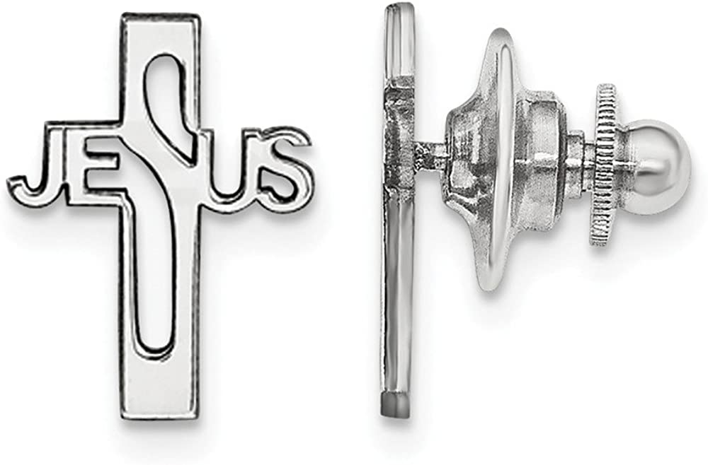 925 Sterling Silver Rhodium-plated Jesus Cross Tie Tac Clip