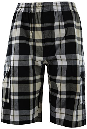 Plaid Shorts Khaki (ChoiceApparel® Mens Checkered Plaid Shorts with Elastic Waist Band (Many Patterns) (M, 47-Khaki))