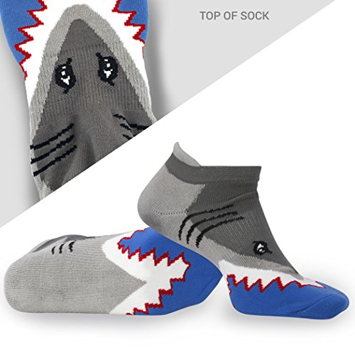 Inspirational Athletic Running Socks | Women's Woven Low Cut | Shark Attack | Multicolor