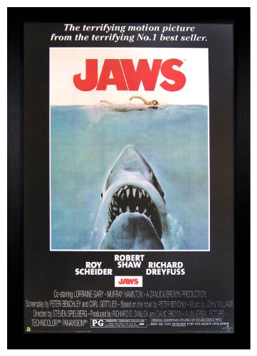 Jaws Movie, Great White Shark 24x36 Framed Poster