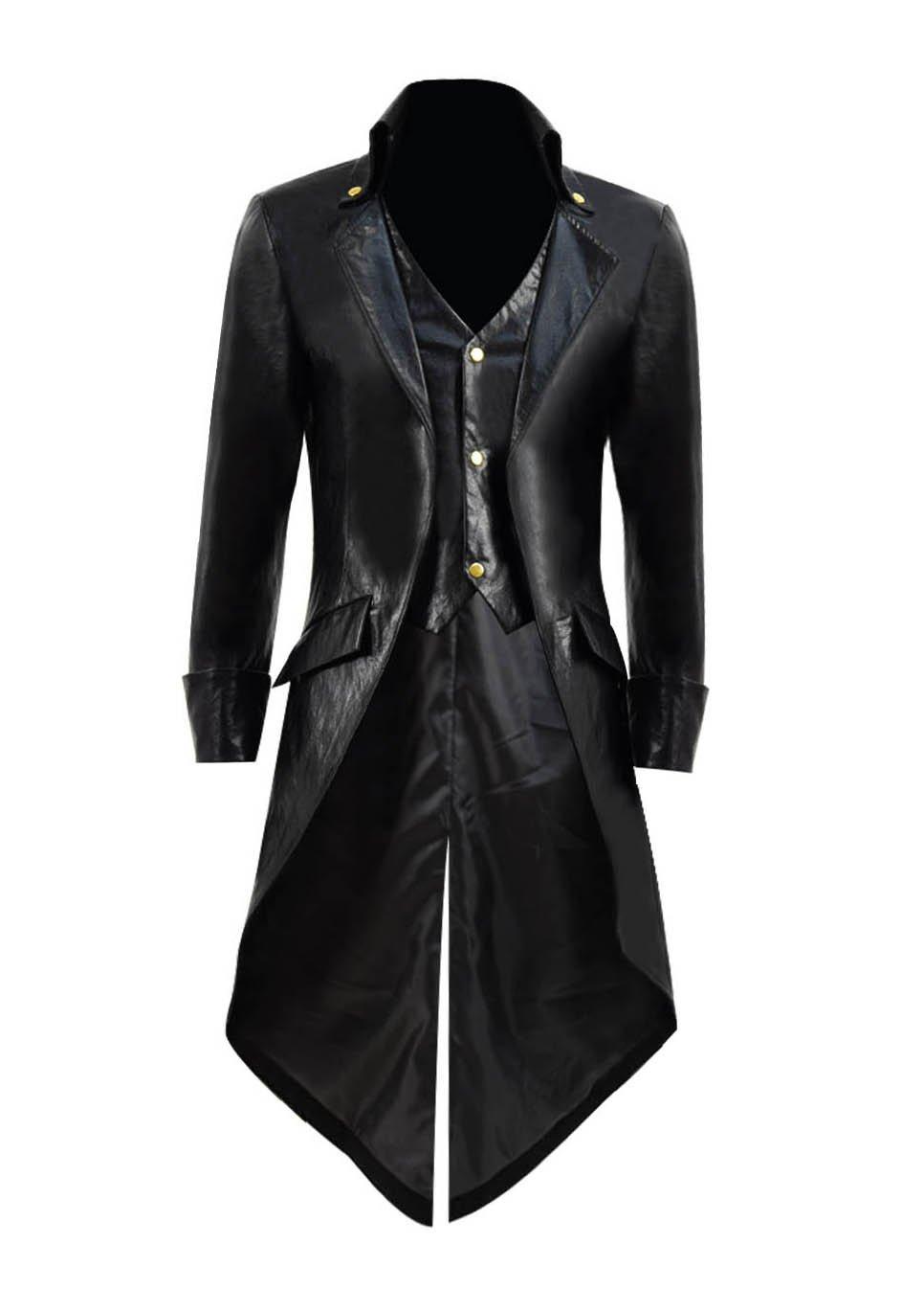 Very Last Shop Mens Gothic Tailcoat Jacket Black Steampunk Victorian Long Coat Halloween Costume (US Men-M, Black A(Faux-Leather))