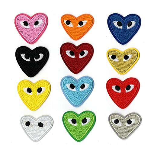 Cartoon Love Heart Eyes Patches Badges Patch Embroidered Appliques for Clothes Kids T Shirt Jeans DIY Crafts (Style 2(12 pcs))