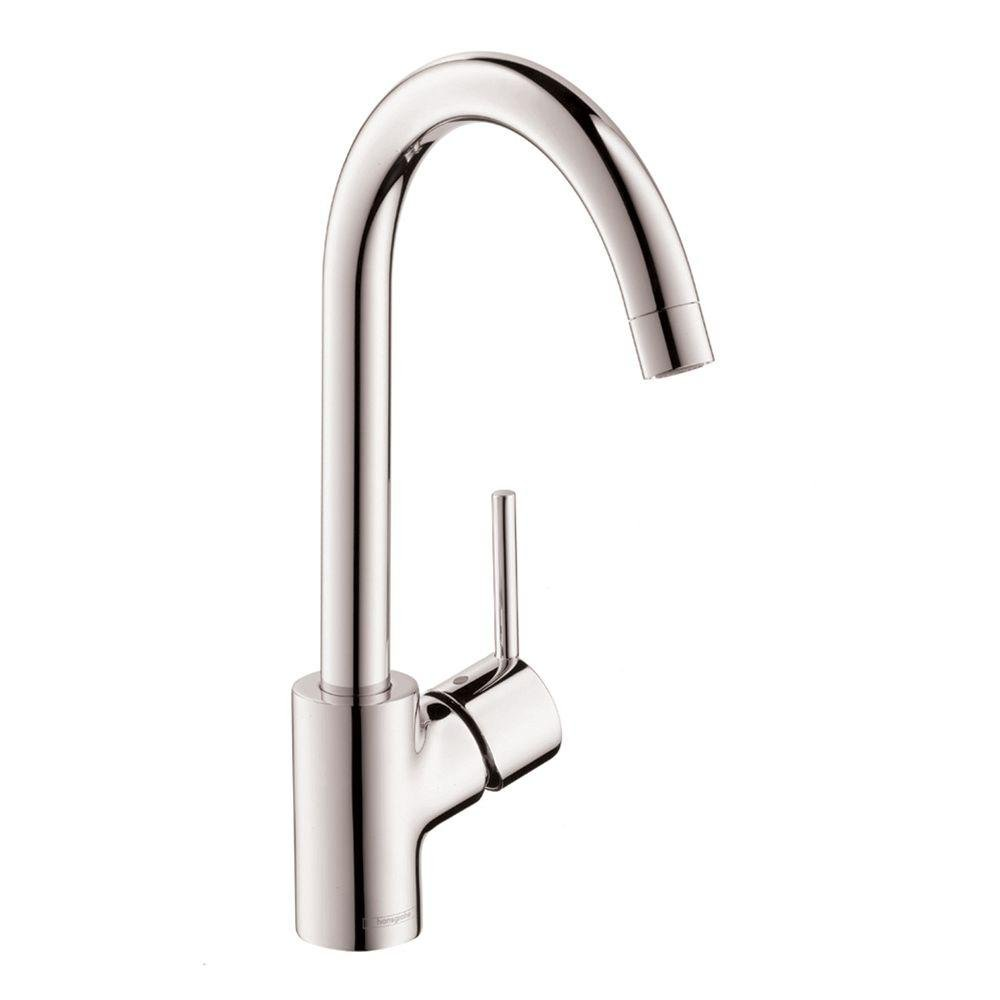hansgrohe Talis S Premium 1-Handle 14-inch Tall Stainless Steel Kitchen Faucet in Steel Optic, 04870800