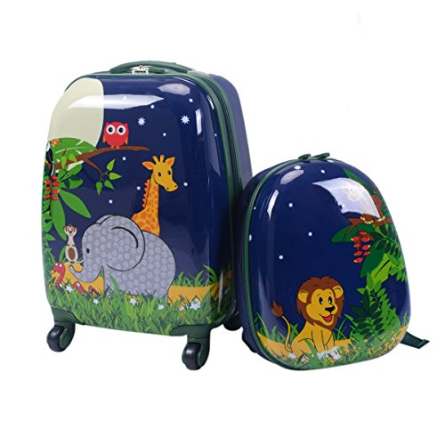 Custpromo 2 pcs ABS Kids Suitcase Lightweight Backpack Luggage Set 16 Carry On Luggage with Spinner Wheels and 12 Backpacks Set for 2, 3, 4 year olds,Boys and Girls (Elephant & Lions)