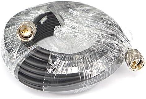 RG58 Cable Coaxial 10 m PL-259 macho a macho Jumper Pigtail sábana bajera ajustable PL259 conectores para jamón o CB Radio Antena Extensión Coaxial UHF, ...