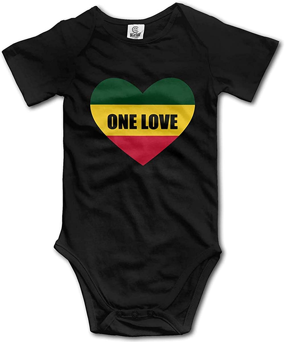 Rasta One Love Heart Newborn Baby Bodysuit Short Sleeve Infant Bodysuit WlQshop Unisex-Baby Kurzarm Body
