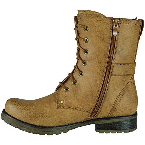 Work Größe Schnalle Biker Reißverschluss Niedrige Strap Camel 3 Army Ferse 8 Schuhe Damen Stiefeletten fB6qwYw