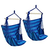 ZENY Set of 2 Hanging Rope Hammock Chair Swing Seat for Indoor or Outdoor Spaces- Max. 265 Lbs -4 Seat Cushions Included (2Blue)