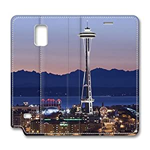 Brian114 Samsung Galaxy Note 4 Case, Note 4 Case - Samsung Note 4 Protective and Light Carrying Cover Seattle Washington Non-Slip Leather Case for Samsung Galaxy Note 4