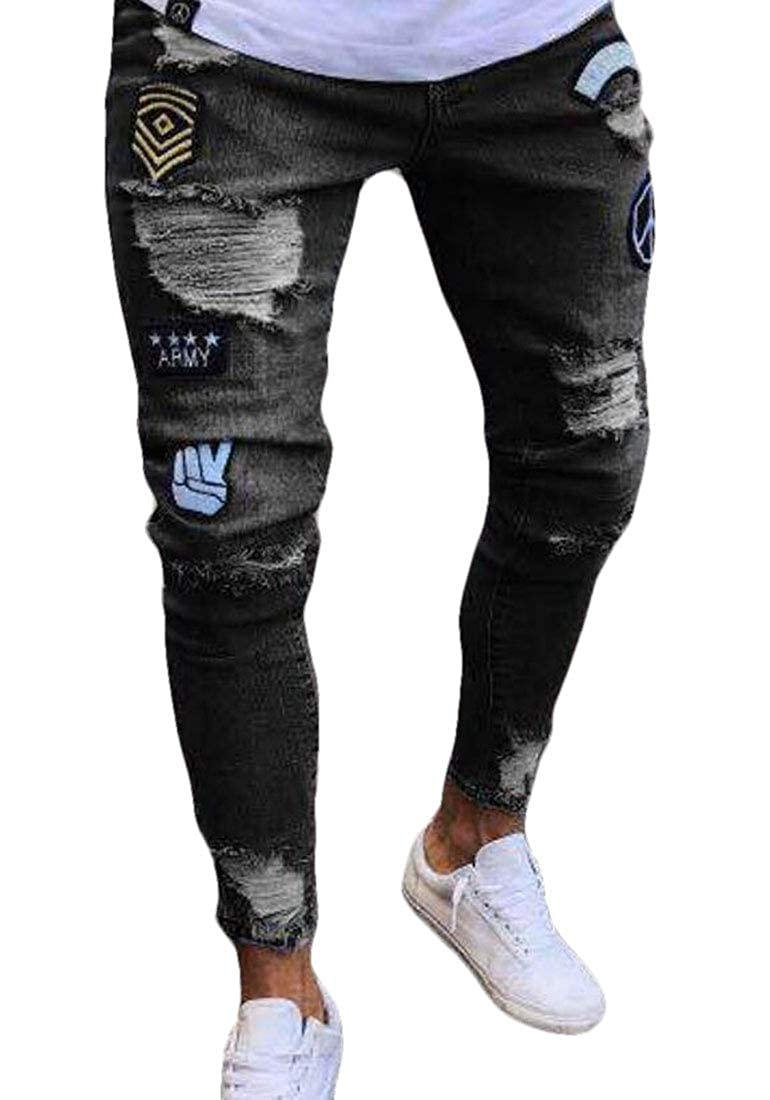 YYear Mens Ripped Embroidery Jeans Denim Fashion Destroyed Long Pants