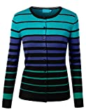 URBANCLEO Womens Casual Ombre Stripe Sweater Cardigan BLACKBLUE LARGE