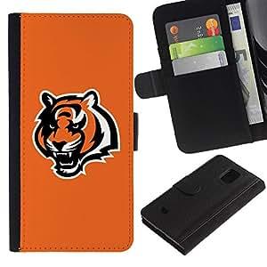 LASTONE PHONE CASE / Lujo Billetera de Cuero Caso del tirón Titular de la tarjeta Flip Carcasa Funda para Samsung Galaxy S5 Mini, SM-G800, NOT S5 REGULAR! / Orange Tiger Roar