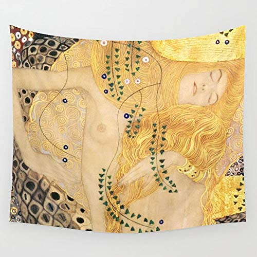 (Ameiu-Design Water Serpents Gustav Klimt Wall Tapestry Hanging Tapestries Wall Art for Living Room Bedroom Dorm Decor 80X60 inches)