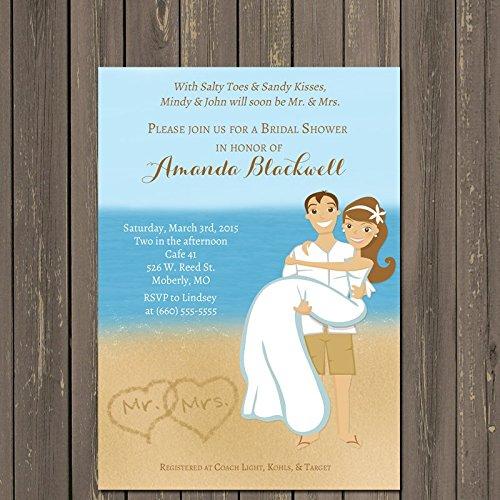 beach couple bridal shower invitation beach destination wedding invitation couples shower custom invitations